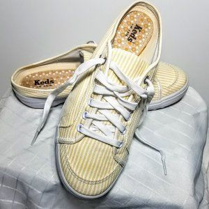 Keds Yellow/White Striped Slip On Mule Sneakers 9